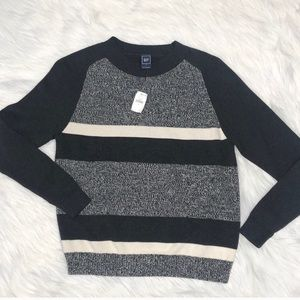 NEW Gap retro style marled grey striped sweater S